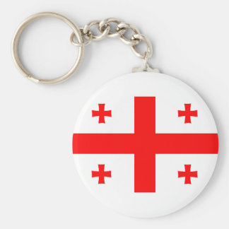georgia country flag long symbol basic round button key ring