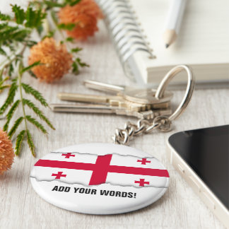 Georgia Flag Basic Round Button Key Ring