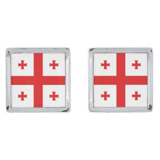 Georgia Flag Cufflinks Silver Finish Cufflinks