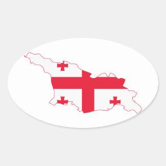 Georgia Flag Map GE Oval Sticker