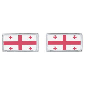 Georgia Flag Silver Finish Cufflinks