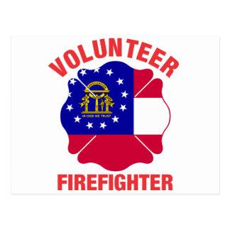 Georgia Flag Volunteer Firefighter Cross Post Cards