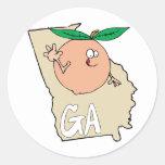 Georgia GA Cartoon Map with funny smiling peach Round Sticker