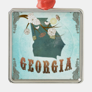 Georgia Map With Lovely Birds Silver-Colored Square Decoration