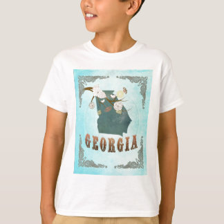 Georgia Map With Lovely Birds T-Shirt