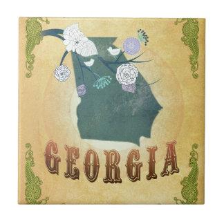 Georgia Map With Lovely Birds Ceramic Tile