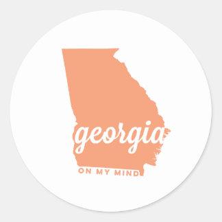 georgia | on my mind | peach classic round sticker