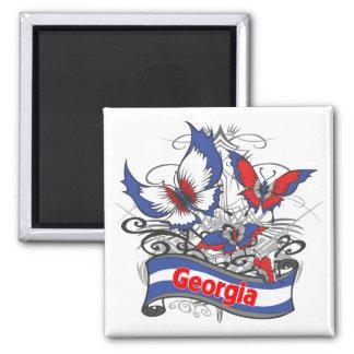 Georgia Patriotism Butterfly Square Magnet