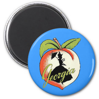 Georgia Peach Vintage Southern Lady Parasol Magnet