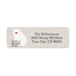 Georgia State Love Map Home Sweet Home Custom Return Address Label