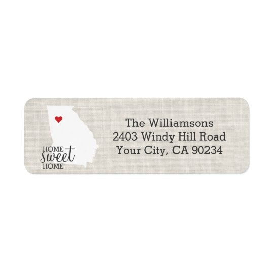 Georgia State Love Map Home Sweet Home Custom Return Address Label