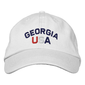 Georgia USA Embroidered White Hat Embroidered Cap
