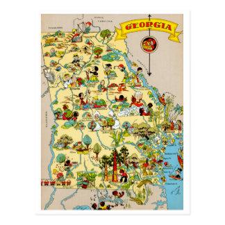 Georgia Vintage Map Postcard