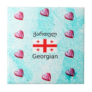 Georgian Language And Flag Design Ceramic Tile