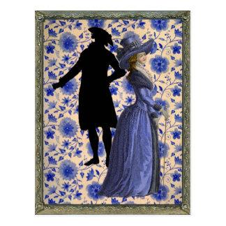Georgoan Lady with a stick - Blue Postcard