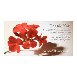 Geranium 2 Sympathy Thank You matching stamp Photo Card Template