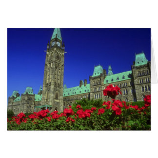 Geranium beds in full bloom on Parliament Hill, Ot Card