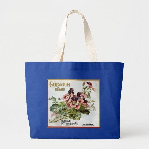Geranium Brand Fruit Crate Label Tote Bag