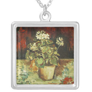 geranium in a flower pot silver plated necklace