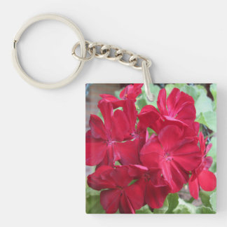 Geranium Plant Red Floral Double-Sided Square Acrylic Key Ring