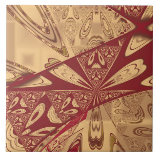 Geranium Red Abstract Tile