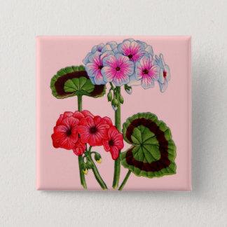 geraniums 15 cm square badge
