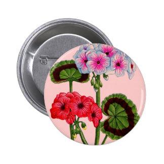 geraniums 6 cm round badge