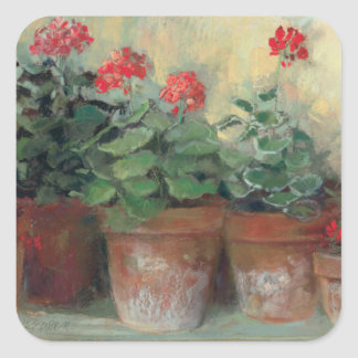 Geraniums in Pots Square Sticker
