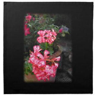 Geraniums. Pelargonium flowers. Cloth Napkin