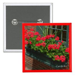 Geraniums Red Green Window Box 15 Cm Square Badge