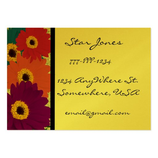 Gerber Daisies Plum Orange Teal Red & Lime Business Card Template