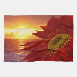 Gerber Daisy and sunset Tea Towel