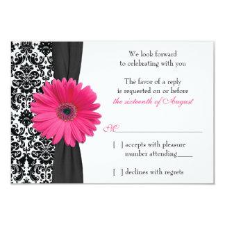 Gerber Daisy Pink Black Damask Wedding RSVP Reply 9 Cm X 13 Cm Invitation Card