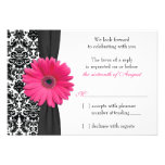 Gerber Daisy Pink Black Damask Wedding RSVP Reply Invites