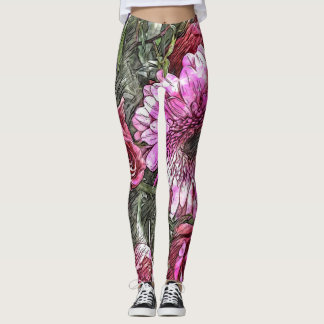 Gerbera and rose bouquet leggings
