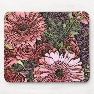 Gerbera and roses bouquet mouse mat