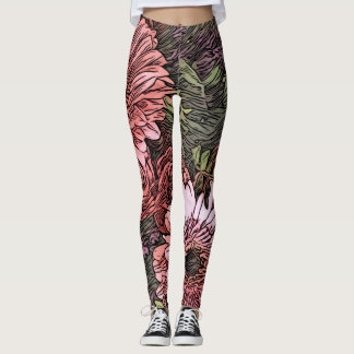 Gerbera bouquet leggings