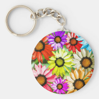 Gerbera colourful flower floral key ring