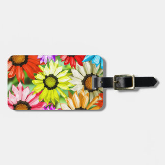 Gerbera colourful flowers luggage tag