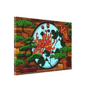 Gerbera  Daisies and Bonsai Trees Stretched Canvas Prints