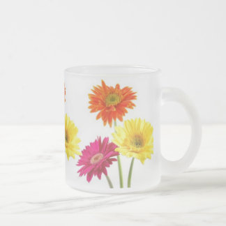 Gerbera Daisies Frosted Glass Coffee Mug