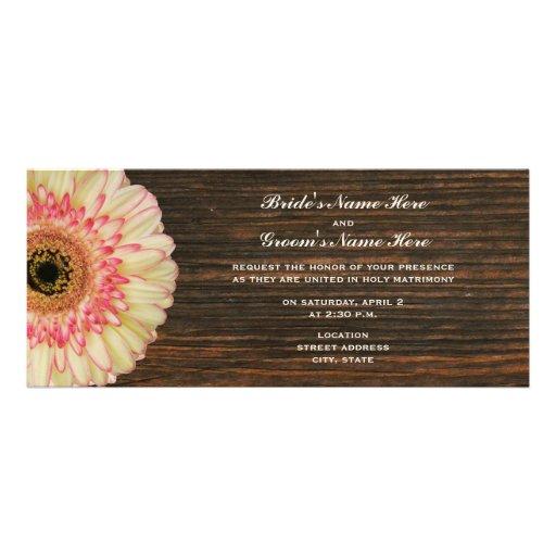 Gerbera Daisy & Barnwood Wedding Invite