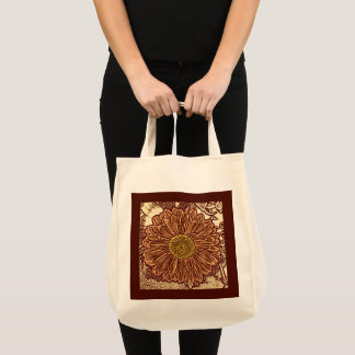 Gerbera Daisy Block Print, Brown and Tan Tote Bag