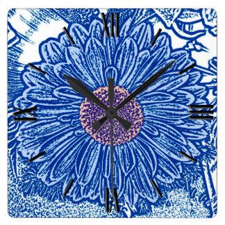 Gerbera Daisy Block Print - cobalt blue Wall Clock