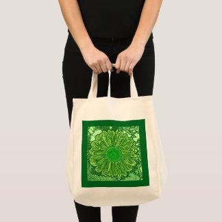 Gerbera Daisy Block Print, Emerald Green Tote Bag