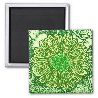 Gerbera Daisy Block Print - lime green Square Magnet