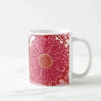 Gerbera Daisy Block Print - red and pink Coffee Mugs