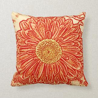 Gerbera Daisy Block Print - saffron orange Pillow