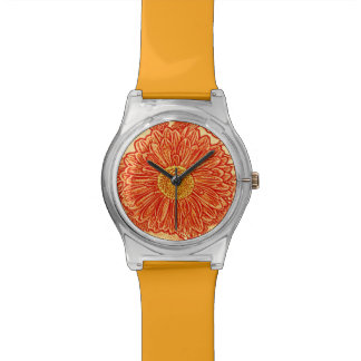 Gerbera Daisy Block Print - saffron orange Wristwatch