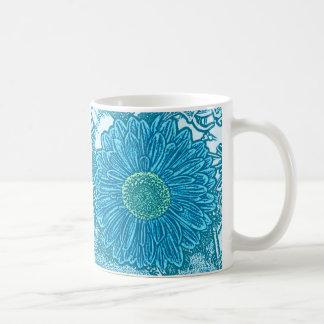 Gerbera Daisy Block Print - sea blue Mugs